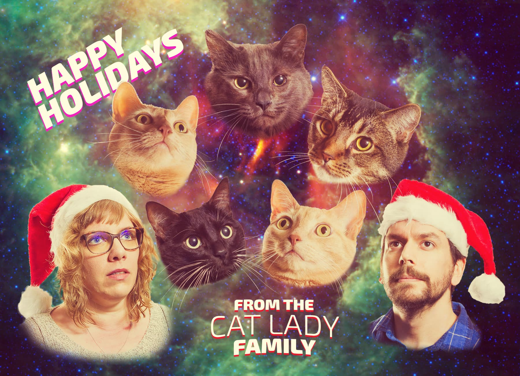 Cat Lady Family Postcard